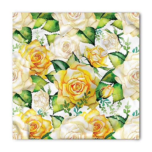 LULABE Rose Bandana, Watercolor Wedding Flowers, Unisex Bandana Head and Neck Tie Neckerchief Headdress Silk-Like 100% Polyester Desert Rose Floral