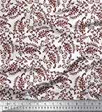 Soimoi Rot Poly Georgette Stoff Blätter & Paisley Block