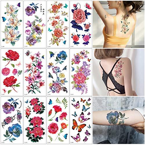 Butterfly Spring Kostüm - Oottati 12 Sheets Flowers Fake Temporäre Tätowierungen Aufkleber Kit - 19x9cm Watercolor Painting Butterfly Red Blue Purple Rose Bouquet Tattoo Damen