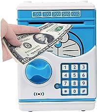 Lalli Sales Cartoon Printed Money Safe Kids Piggy Savings ATM Bank with Electronic Lock (Blue)