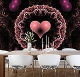 Vlies XXL-Poster Fototapete Tapete Muster Herz schwarz rosa Material Vlies ohne Kleber, Größe 160 x 120 cm 2-tlg