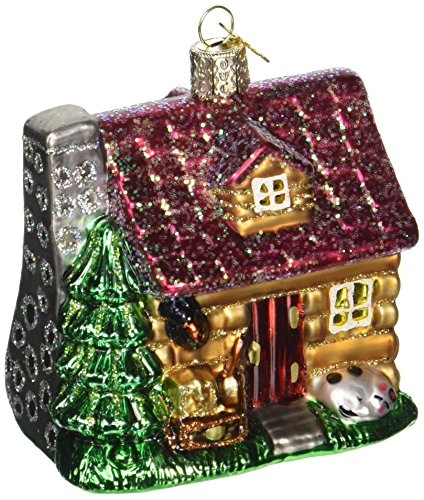 Old World Weihnachten Lake Kabine Glas geblasen Ornament (Geblasenes Glas-ornamente)
