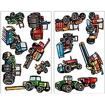 13-teiliges Trecker Traktor und Fahrzeug Set Wandtattoo Mähdrescher Landmaschinen LKW Wandsticker in 5 Größen (2x21x34cm mehrfarbig)