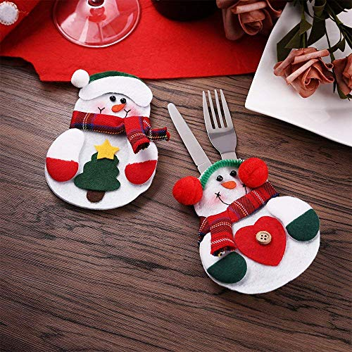 ZOGIN 6pcs Christmas Kitchen Cutlery Silverware Holders Pockets Knifes Forks Bag, Xmas-Eve Dinner Snowman Costume Cover Decor