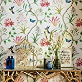Blooming murale moderne Fresh Rouille Fleur Oiseaux Tissu non tissé papier peint pour salon Chambre à coucher de cuisine, 57, à ft. carré Vert Multi