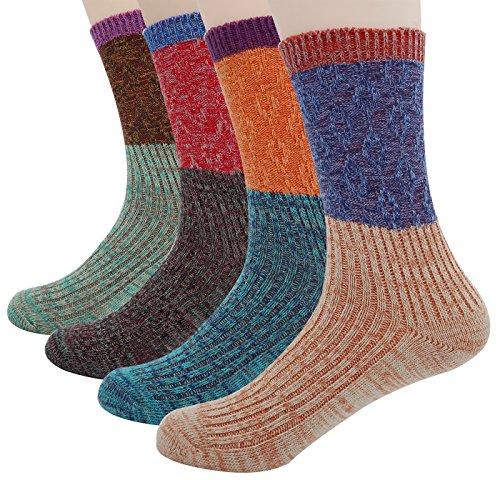 Bienvenu Damen Mädchen 5 Paar oder 4 Paar Pack Baumwolle Crew Stricken Socken