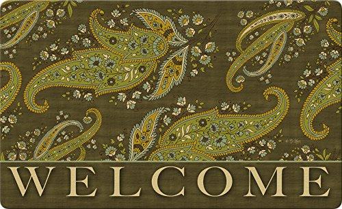 Beige-deck-matte (Toland Home Garden 800382grün gebeizt Paisley Fußmatte Welcome Deko)