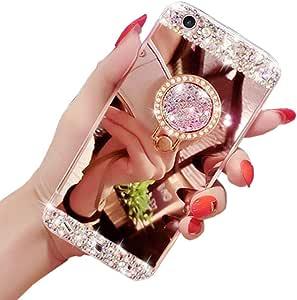 Bling Glitter Diamant Strass Souple Silicone TPU Housse Etui de Protection avec Support Bague 360 Degr/és Rotation pour Huawei P30 Pro Or Rose Obesky Miroir Coque Compatible avec Huawei P30 Pro