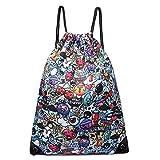 Kono Drawstring Backpack School Swim Gym PE Rucksack Outdoor Sports Shoulder Bags (1406 Catoon and Graffiti)