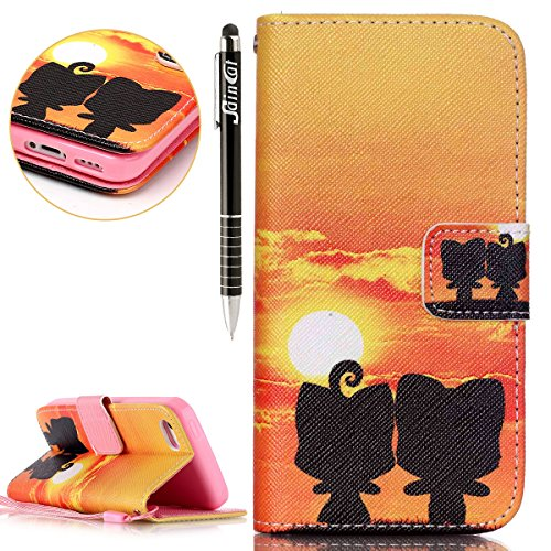 SainCat Apple iPhone 5c Custodia in Pelle,Anti-Scratch Protettiva Corpertura Caso Custodia Per iPhone 5c,Elegante Creativa Dipinto Pattern Design PU Leather Flip Ultra Slim Sottile Morbida Portafoglio Cartoon volpe