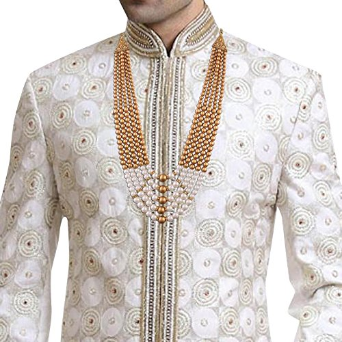I Jewels Traditional Gold Plated Dulha Necklace/Moti Mala for Men (MLP12)