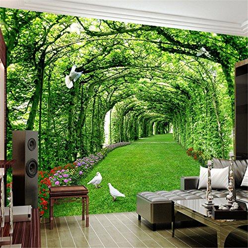 Sucsaistat 3 D grünen Wald Baum Rasen 3D Raum hintergrundbild Dekoration wandbild, 250 * 175 cm