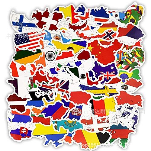 50 UNIDS Hojas Banderas Mundo País Pegatinas Juguete