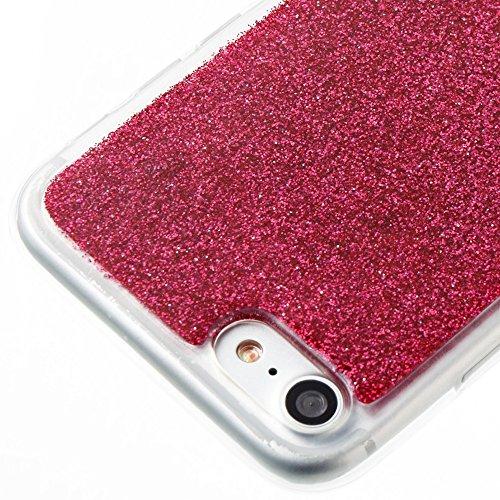 DaYiYang Weiches flexibles Silikon TPU Ultra dünner Gel-Abdeckungs-Fall Bling Glitter 360 ° volle Abdeckung Rückseitige Abdeckung [Shockproof] für iPhone 7 ( Color : Purple ) Red