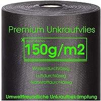 Xabian Anti Unkrautvlies 150g/m² Gartenvlies ROLLE 50m x 1m = 50m² | Unkrautfolie sehr hohe UV-Stabilisierung - extrem reißfest und wasserdurchlässig