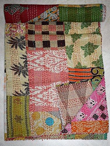 Tribal Asian Textiles Patchwork Kantha Indien Fait Main Coton Couvre-lit