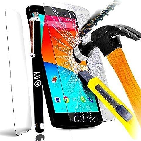 A&D® FILM PROTECTION Ecran en VERRE Trempé pour IPHONE 5 5C 5S filtre protecteur d'écran INVISIBLE & INRAYABLE vitre INCASSABLE pour Smartphone Apple 5G 5GS (+ STYLET NOIR)