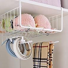 HOME CUBE Under Shelf Basket Wire Rack | Slides Under Shelves for Storage - White Color