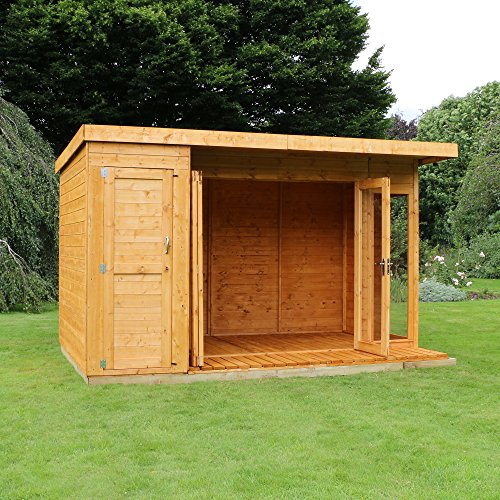 12 8 t g wooden contemporary summerhouse with side storage for Side storage shed