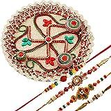 Creativity Creations Rakshabandhan Swastik Pooja Thali With Colorful Rakhis