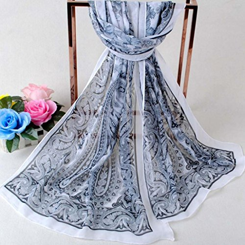 Transer ® Femelle Écharpes,Mode féminine Imprimé écharpe en mousseline de soie Caractéristiques Foulards longues C