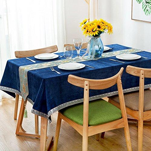 Home tischdecke,Vintage tischdecke,Einfarbige tischdecke,Stoff baumwolle leinen Moderne familie Muster nähen Teetisch Sauber Längliche tischdecke Blaue tischtuch-Blau 110x170cm(43x67inch) -