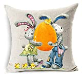 vintage cap Happy Easter Oil Painting Smile Bunny Color Egg and Butterflies Cotton Linen Square Decorative Throw Pillow Case Cushion Cover 18inchs (5)
