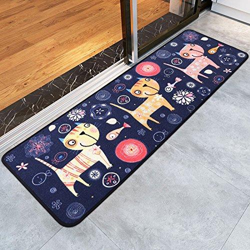 PRAGOO de dibujos animados del gato Área Tapetes Animal lindo de la estera no del resbalón de la alfombra por la cocina Cama de la sala de estar (40 * 120 cm)