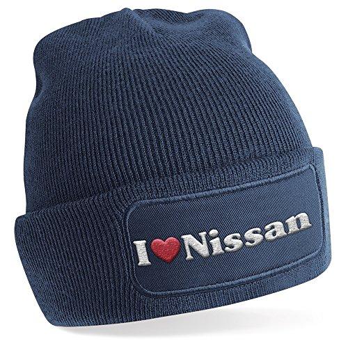 i-love-nissan-motiv-auf-beanie-mutze-warme-wintermutze-modisches-accessoire-unisex-fur-mann-und-frau