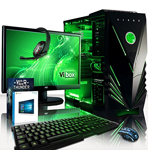 For Sale VIBOX Gaming PC – Apache Package 9XSW – 4.1GHz AMD FX 6-Core CPU, GTX 1050 Ti GPU, Advanced, Desktop Computer with Game Bundle, 22″ HD Monitor, Headset, Gaming Keyboard & Mouse, Windows 10 OS, Green Internal Lighting and Lifetime Warranty* (Super Fast AMD FX 6300 Six 6-Core CPU Processor, Nvidia GeForce GTX 1050 Ti 4GB Graphics Card GPU, 8GB DDR3 1600MHz RAM, 2TB (2000GB) Sata III 7200rpm Hard Drive HDD, Raijintek CPU Cooler, 85+ Rated PSU, Vibox Green Case, AM3+ Motherboard) Special