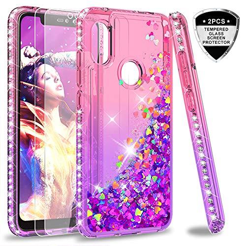 LeYi Hülle Xiaomi Redmi Note 6 Pro Glitzer Handyhülle mit Panzerglas Schutzfolie(2 Stück),Cover Diamond Bumper Schutzhülle für Case Xiaomi Redmi Note 6 Pro Handy Hüllen ZX Gradient Pink Purple