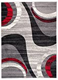 Carpeto Rugs Tapis Salon Gris 300 x 400 cm Moderne Vagues/Monaco Collection