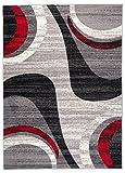 """Tapis de Chambre Salon - Gris Noir Rouge - Tapis Classique das un Cadre Contemporaine - Ras et Résistant - a Poid Court - avec des Motifs Abstrait - Vagues - Facile a Nettoyer """" MONACO """" 200 x 300 cm Grand"""