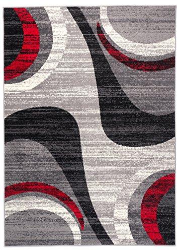 Carpeto Rugs Tapis Salon Gris 200 x 300 cm Moderne Vagues/Monaco Collection