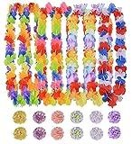 Ghirlanda Hawaiana, Coxeer 48 pz Collane Hawaiane Lei Festa Hawaiana Collane Fiori Hawaiane con Floreale Fermaglio Per Capelli immagine