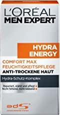L'Oreal Men Expert Hydra Energy Comfort Max Feuchtigkeitspflege, 24H Anti-Trockene Haut ohne Alkohol, 50 ml