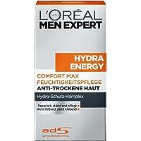 L'Oreal Men Expert Hydra Energy Comfort Max, nicht fettende Feuchtigkeitspflege für sensible und trockene Männerhaut, zieht ohne Rückstände ein (1 x 50 ml)
