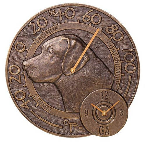 Whitehall Products Labrador Thermometer Uhr, antikes Kupfer -