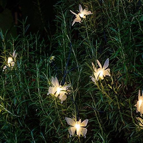 10er LED Solar Lichterkette Schmetterling warmweiß Lights4fun