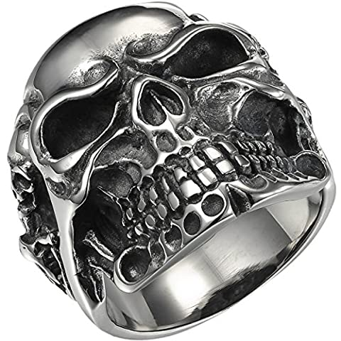 VALYRIA Jewelry Gothic Stainless Steel Skull Biker Men's Ring,Antique Silver,W 1/2