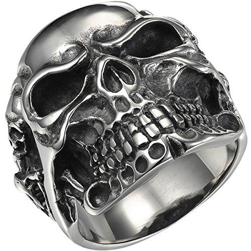Valyria joyería motorista anillo de los hombres, acero inoxidable, Gótico Calavera, Plata