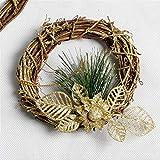 Wuwenw Navidad Polvo De Cebolla Dorada Corona De Madera Decoración De Navidad Corona Festivo Ambiente De Vacaciones Diseño Suministros 14 * 14 Cm