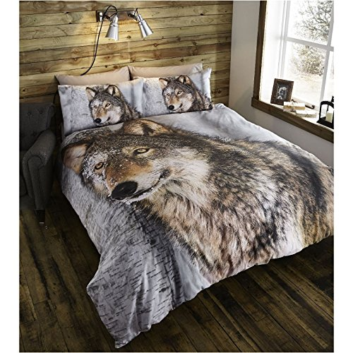 Thru The Lens Wolf Double Quilt Duvet Cover and 2 Pillowcase Bed Set, Polycotton, Brown