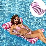 HomeYoo Pool Hängematte Wasser-Hängematte Schwimmliege Wasserliege aufblasbares Kopf- & Fußteil, Luftmatratze Pool Lounge für Wasserspaß Liege für Erwachsen Sommer im Freienschwimmen (Rosa)