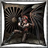 ASSASSIN STEAMPUNK ANGEL CUSHION 42CM BY ANNE STOKES - NEMESIS NOW
