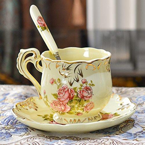 Mugcap tazze di ceramica semplice boutique in stile europeo, ma il tè del pomeriggio tazza piattino in ceramica set tazza regali di san valentino, avorio porcellana floreale.