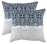 TreeWool 2pezzi cuscino Covers Marvel Accent in tela di cotone (45x 45cm, blu navy e grigio)