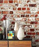Steintapete Rot Weiß Rustikal Natur Stein , schöne edle Tapete im Steinmauer Loft Design , moderne 3D Optik für Wohnzimmer, Schlafzimmer oder Küche inkl. Newroom Tapezierbroschüre