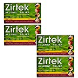 Zirtek Allergy Relief | 7 Tablets x 4 Packs | 4 Weeks Supply | Relieves Hayfever & Allergies | Cetirizine Antihistamine Tablet | Reliever (4) | with Free Travel Tissues Included