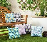 Gefülltes Kissen Blau Grau Geometrisches Design Wasserdicht Für Draußen Gartenmöbel - 2